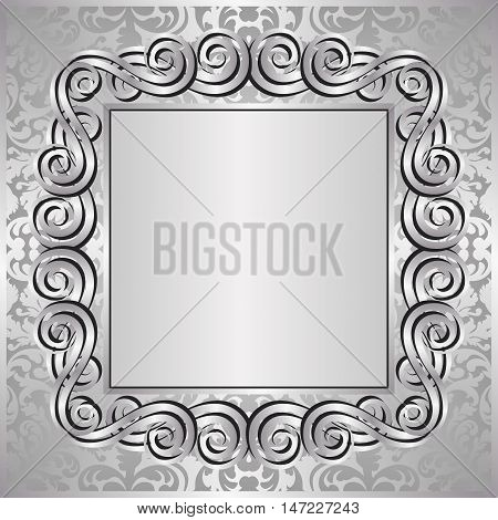 silver background with decorative frame - vector illustration
