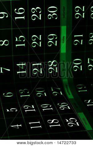 dark grungy green calendar