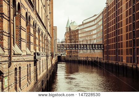 Post card view amber house in Germany Hamburg, european street close up