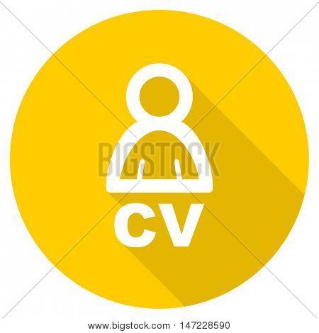 cv flat design yellow round web icon