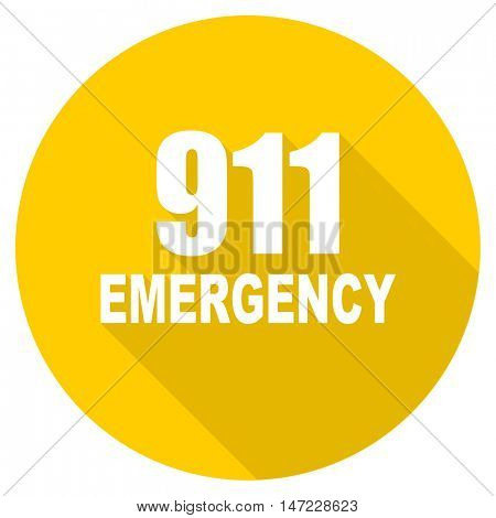 number emergency 911 flat design yellow round web icon