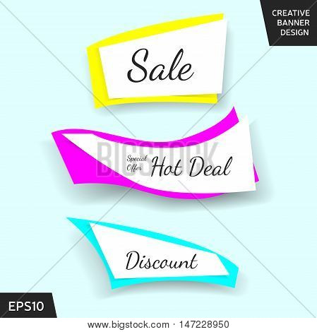 Creative sale banner collection. Set of shiny beautiful elements for promotion advertisement and other purposes. Website banner or sticker design. Vector illustration eps 10