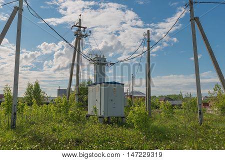 High voltage transformer on the village street