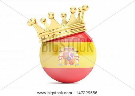 Crown with flag of Kingdom of Spain 3D rendering