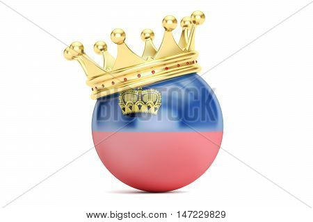 Crown with flag Principality of Liechtenstein 3D rendering