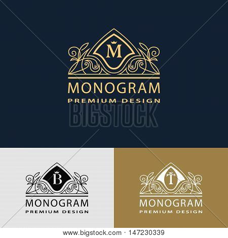 Vector illustration of Monogram design elements graceful template. Elegant line art logo design. Beautiful frame. Emblem letter M. B T for Restaurant Web design Boutique Hotel Heraldic Jewelry