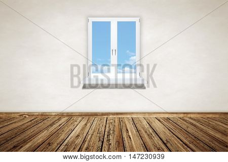 2d illustration of an empty wooden room with a window