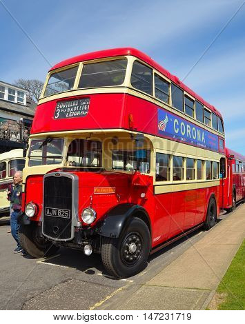 Felixstowe, Suffolk, England - May 01, 2016: Vintage Red and Cream Bristol K5G Double Decker Bus
