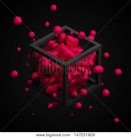 Abstract 3d rendering of chaotic low poly liquid in cube. Background with dynamic polygonal fluid splash. Design element.