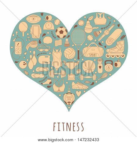 Vector hand drawn  illustration set of fitness and sport elements and symbol in doodle style. Healthy lifestyle background made of sport icons in heart shape.