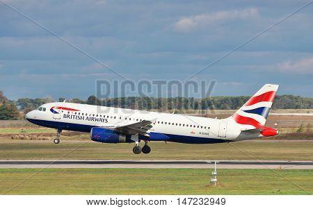 Kiev Region Ukraine - October 2 2011: British Airways Airbus A320 is landing on the runway