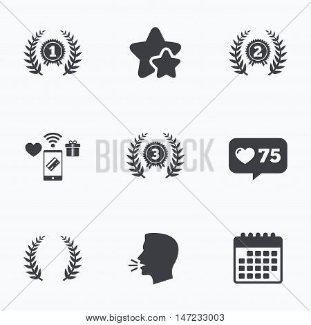Laurel wreath award icons. Prize for winner signs. First, second and third place medals symbols. Flat talking head, calendar icons. Stars, like counter icons. Vector
