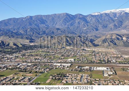 Aerial view of Banning, California which sits at the base of Mount San Gorgonio.