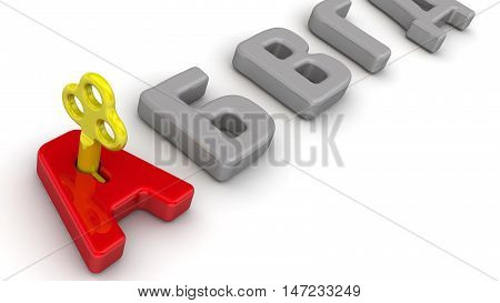 The key of knowledge. Golden key in a red letter
