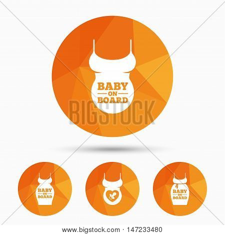 Baby on board icons. Infant caution signs. Child pacifier nipple. Pregnant woman dress with big belly. Triangular low poly buttons with shadow. Vector