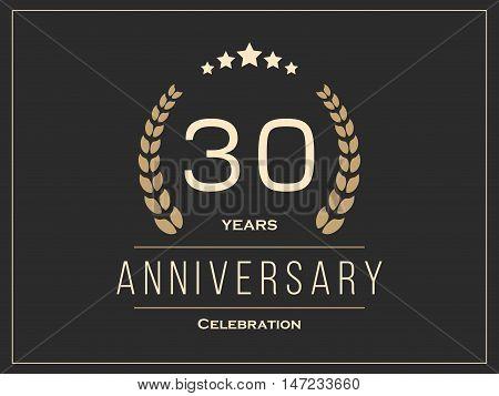 Thirty years anniversary celebration logotype. 30th anniversary logo. Vector illustration.