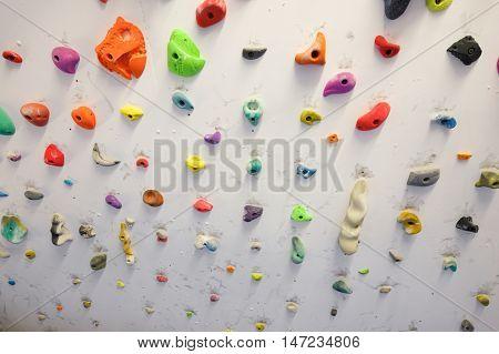 Climbing wall indoor detail in  Zaragoza, Spain.