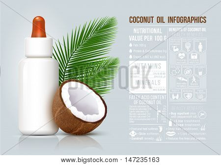 Coconut oil infographic coconut oil benefits food infographic healthy fruit cosmetic bottle.
