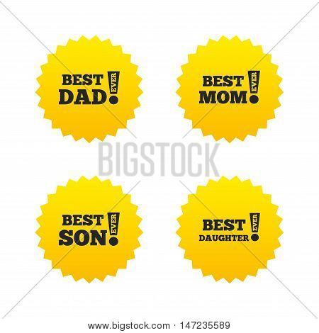 Best mom and dad, son and daughter icons. Awards with exclamation mark symbols. Yellow stars labels with flat icons. Vector