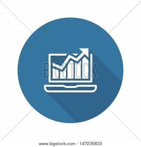 Traffic Icon. Flat Design. Isolated Illustration. App Symbol or UI element. Laptop with Growing Graph.