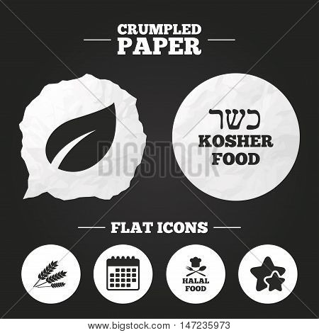 Crumpled paper speech bubble. Natural food icons. Halal and Kosher signs. Gluten free. Chief hat with fork and spoon symbol. Paper button. Vector