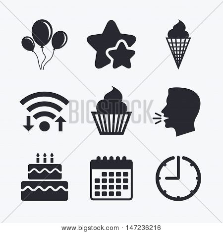 Birthday party icons. Cake with ice cream signs. Air balloons with rope symbol. Wifi internet, favorite stars, calendar and clock. Talking head. Vector