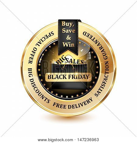 Black Friday big sales, special offer, big discounts, free delivery satisfaction guaranteed  - elegant luxurious icon / label for retail business Advertisement
