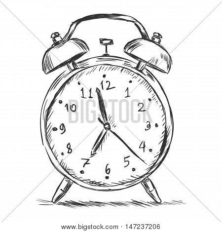Vector Sketch Illustration - Alarm Clock