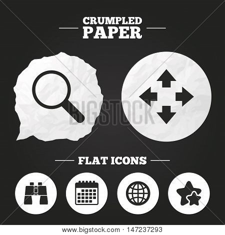 Crumpled paper speech bubble. Magnifier glass and globe search icons. Fullscreen arrows and binocular search sign symbols. Paper button. Vector