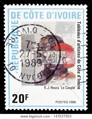 IVORY COAST - CIRCA 1988 : Cancelled postage stamp printed by Ivory Coast, that shows painting by Houra.