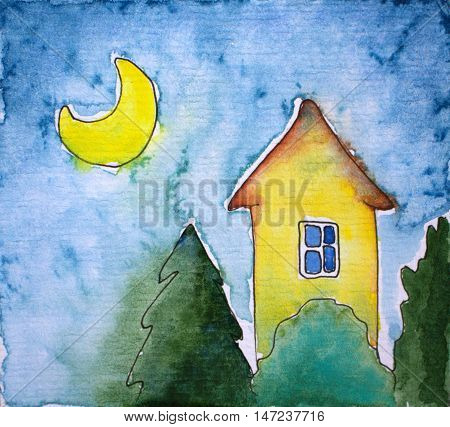 Watercolor illustration house and moon. Hand-painted picture for square postcard. Night landscape with cozy home. Fairy tale drawing with watercolour texture and ink outline. Nursery art poster