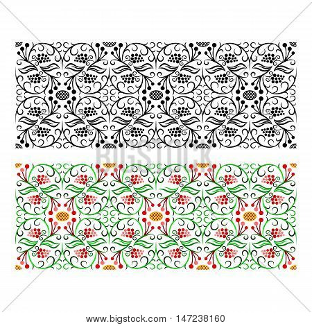 Glyph and colored seamless floral handicraft painting borders at white background