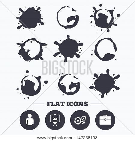 Paint, coffee or milk splash blots. Business icons. Human silhouette and presentation board with charts signs. Case and gear symbols. Smudges splashes drops. Vector