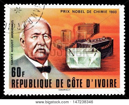 IVORY COAST - CIRCA 1978: Cancelled postage stamp printed by Ivory Coast, that shows Svante August Arrhenius.