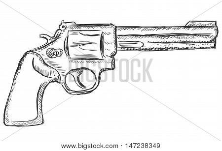 Vector Sketch Illustration - Revolver