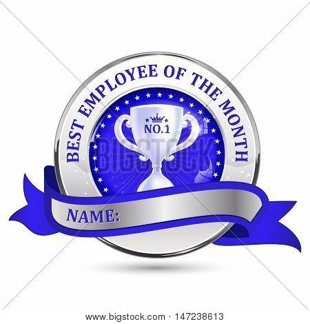 Best employee of the month - metallic blue ribbon / label. Image have its empty place for the awarded employee.