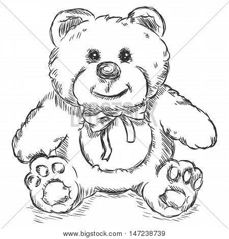 Vector Sketch Illustration - Teddy Bear