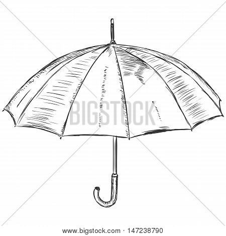 Vector Sketch Illustration - Open Umbrella