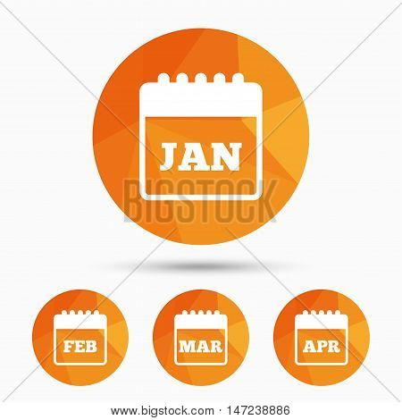 Calendar icons. January, February, March and April month symbols. Date or event reminder sign. Triangular low poly buttons with shadow. Vector