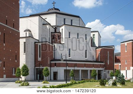 POLAND, KRAKOW - MAY 28, 2016: Sanctuary in Lagiewniki. The centre of Pope John Paul II. Millions of pilgrims from around the world visit it every year.