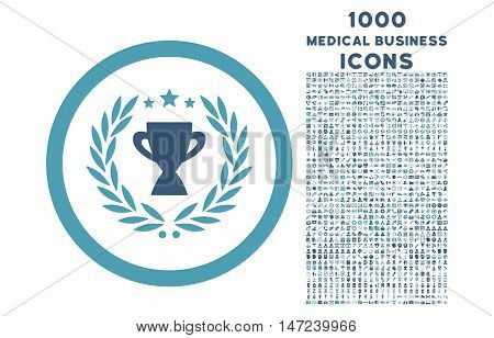 Glory rounded vector bicolor icon with 1000 medical business icons. Set style is flat pictograms, cyan and blue colors, white background.