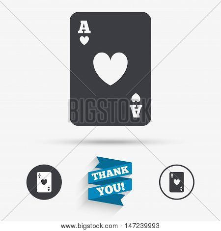 Casino sign icon. Playing card symbol. Ace of hearts. Flat icons. Buttons with icons. Thank you ribbon. Vector