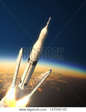 Space Launch System Solid Rocket Boosters Separation In Stratosphere. 3D Illustration.