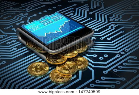 Concept Of Digital Wallet And Bitcoins On Printed Circuit Board. Gold Bitcoins Spill Out Of The Curved Smartphone. 3D Illustration.