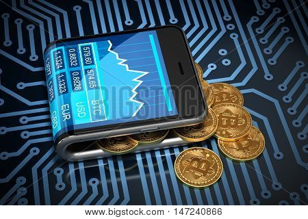 Concept Of Virtual Wallet And Bitcoins On Printed Circuit Board. Gold Bitcoins Spill Out Of The Curved Smartphone. 3D Illustration.