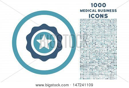 Reward Seal rounded vector bicolor icon with 1000 medical business icons. Set style is flat pictograms, cyan and blue colors, white background.