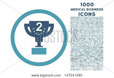 Second Prize rounded vector bicolor icon with 1000 medical business icons. Set style is flat pictograms, cyan and blue colors, white background.