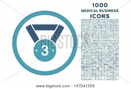 Third Medal rounded vector bicolor icon with 1000 medical business icons. Set style is flat pictograms, cyan and blue colors, white background.