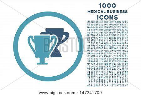 Trophy Cups rounded vector bicolor icon with 1000 medical business icons. Set style is flat pictograms, cyan and blue colors, white background.