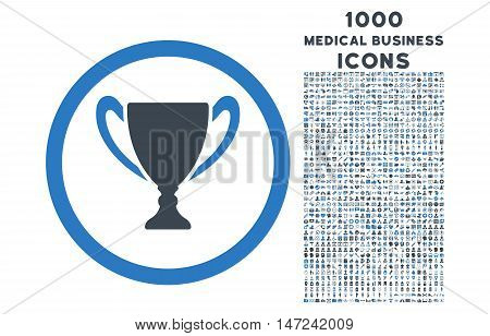 Award Cup rounded vector bicolor icon with 1000 medical business icons. Set style is flat pictograms, smooth blue colors, white background.